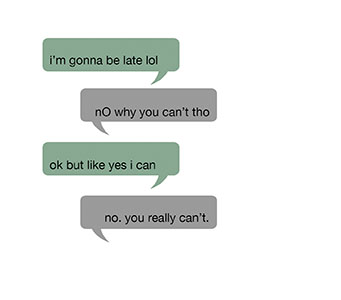 When you're texting, something as simple as a period can change the message's entire tone. (Graphic by Kit Kolbegger)